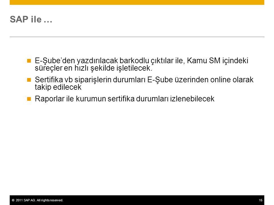 SAP ile … E-Şube'den yazdırılacak barkodlu çıktılar ile, Kamu SM içindeki süreçler en hızlı şekilde işletilecek.