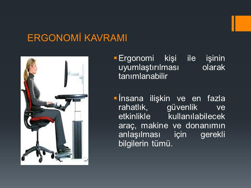 ERGONOMİ KAVRAMI Ergonomi kişi ile işinin uyumlaştırılması olarak tanımlanabilir.