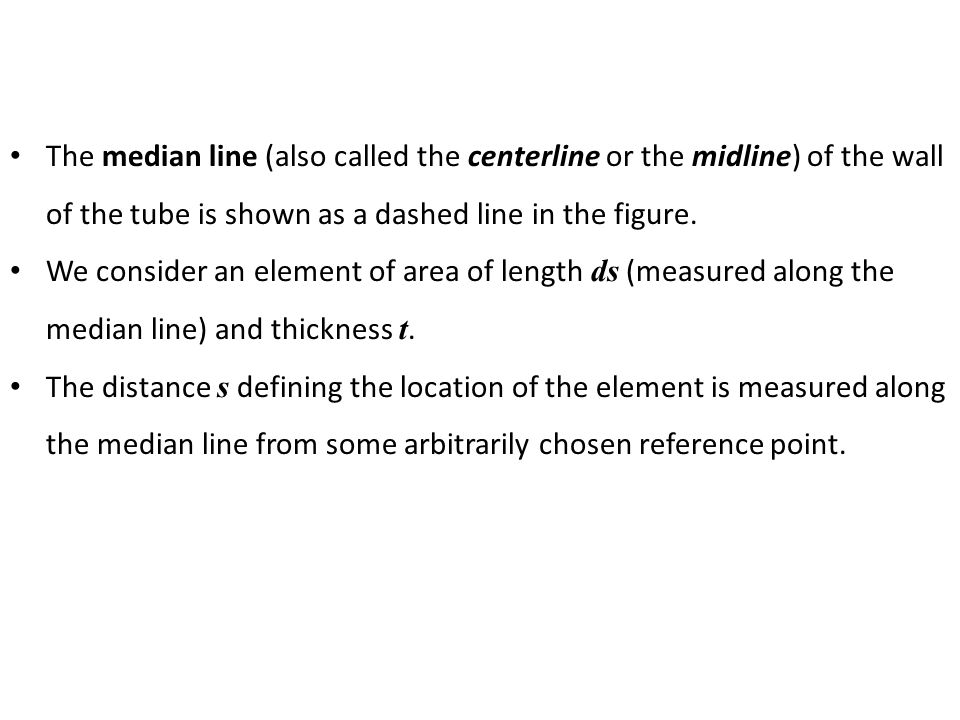 The median line (also called the centerline or the midline) of the wall of the tube is shown as a dashed line in the figure.