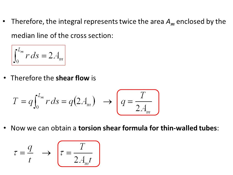 Therefore, the integral represents twice the area Am enclosed by the median line of the cross section: