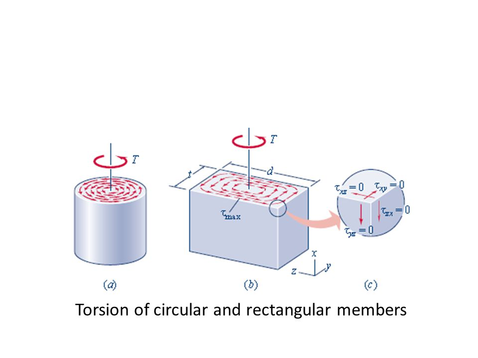 Torsion of circular and rectangular members