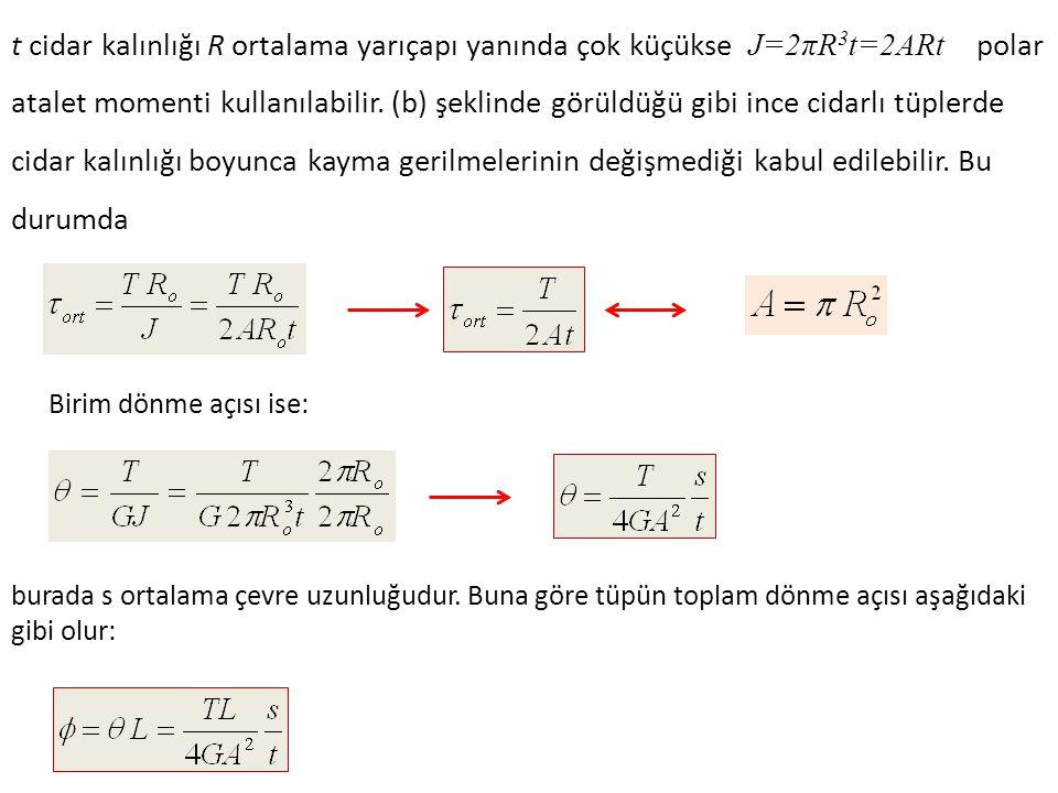 t cidar kalınlığı R ortalama yarıçapı yanında çok küçükse J=2πR3t=2ARt polar atalet momenti kullanılabilir. (b) şeklinde görüldüğü gibi ince cidarlı tüplerde cidar kalınlığı boyunca kayma gerilmelerinin değişmediği kabul edilebilir. Bu durumda