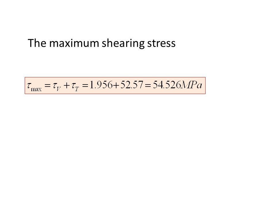 The maximum shearing stress