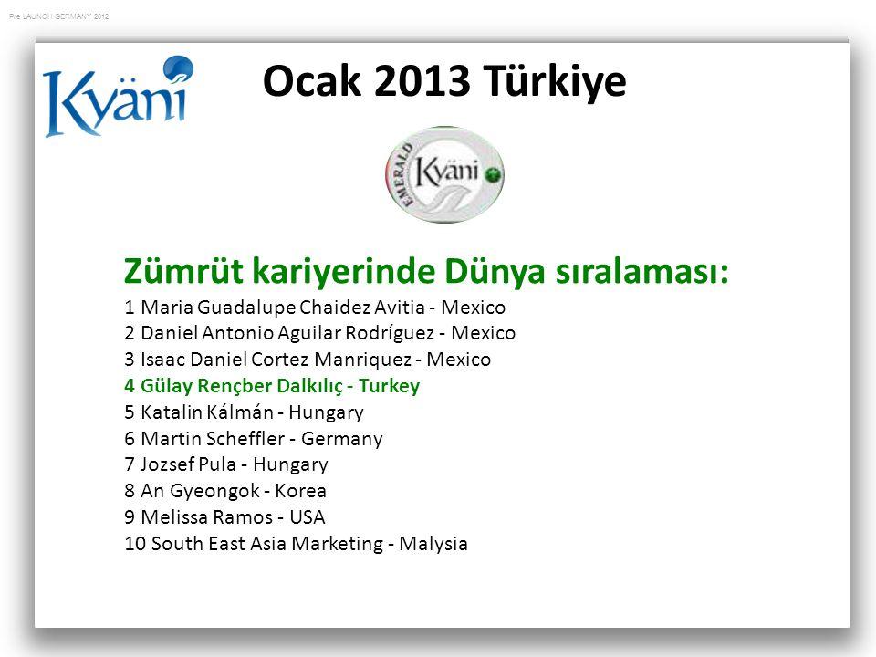 Ocak 2013 Türkiye Zümrüt kariyerinde Dünya sıralaması: