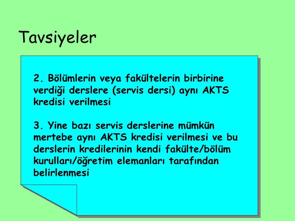 Tavsiyeler 2. Bölümlerin veya fakültelerin birbirine verdiği derslere (servis dersi) aynı AKTS kredisi verilmesi.