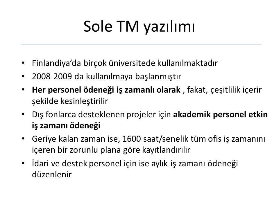 Sole TM yazılımı Finlandiya'da birçok üniversitede kullanılmaktadır