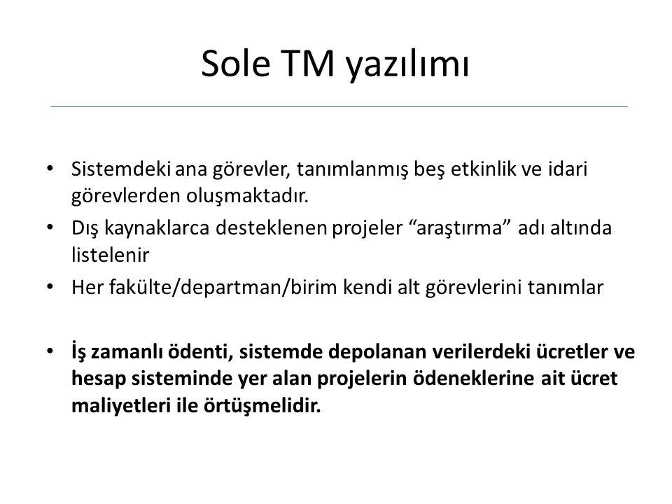 Sole TM yazılımı Sistemdeki ana görevler, tanımlanmış beş etkinlik ve idari görevlerden oluşmaktadır.