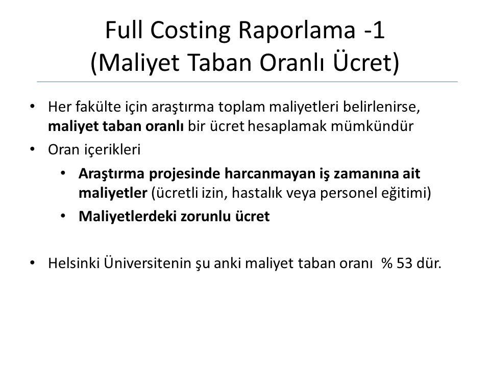 Full Costing Raporlama -1 (Maliyet Taban Oranlı Ücret)