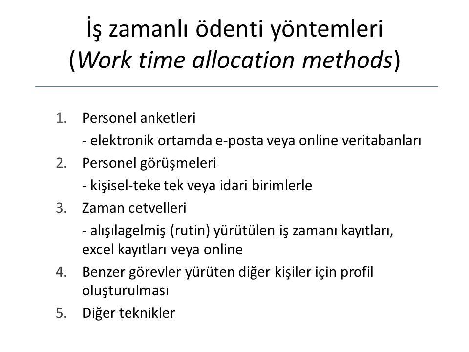 İş zamanlı ödenti yöntemleri (Work time allocation methods)