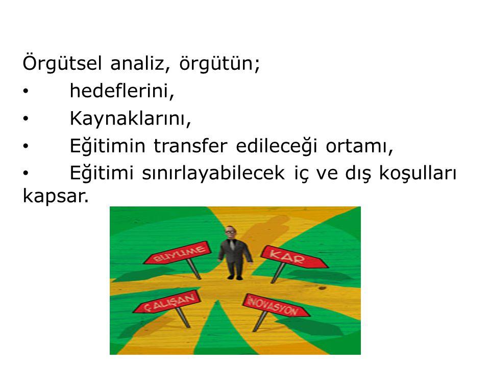 Örgütsel analiz, örgütün;