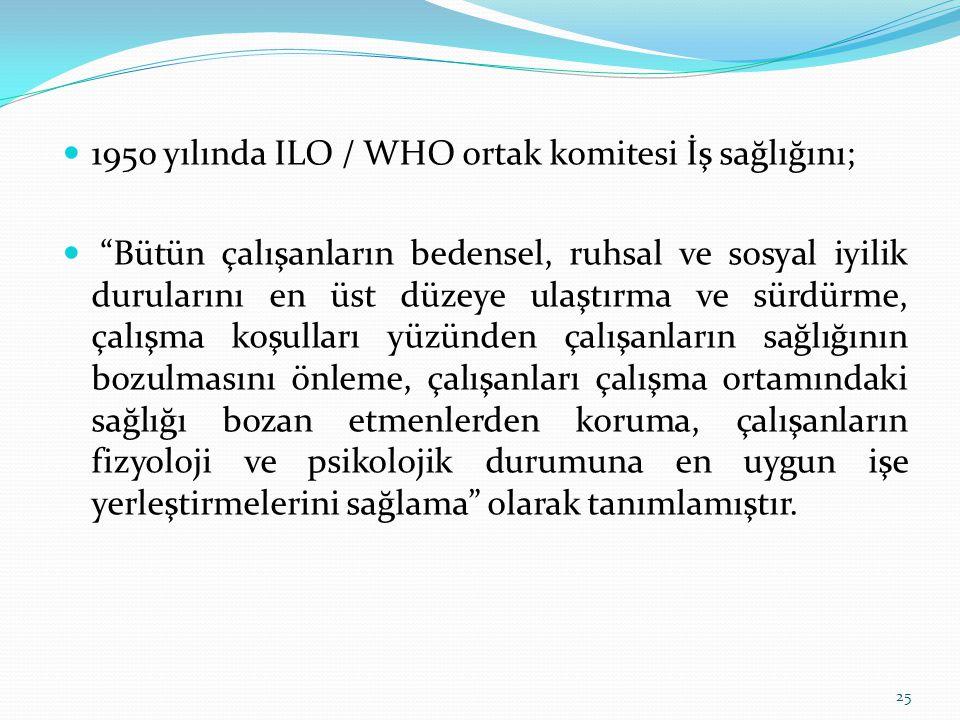1950 yılında ILO / WHO ortak komitesi İş sağlığını;