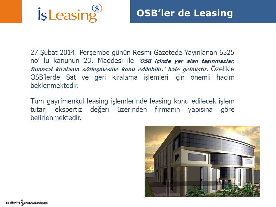 OSB'ler de Leasing
