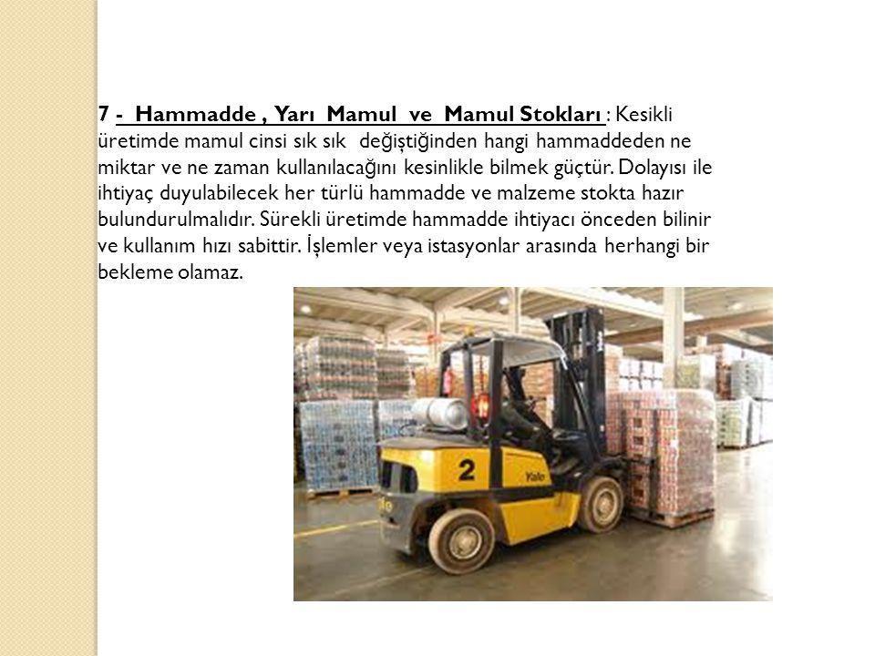 7 - Hammadde , Yarı Mamul ve Mamul Stokları : Kesikli üretimde mamul cinsi sık sık değiştiğinden hangi hammaddeden ne miktar ve ne zaman kullanılacağını kesinlikle bilmek güçtür.