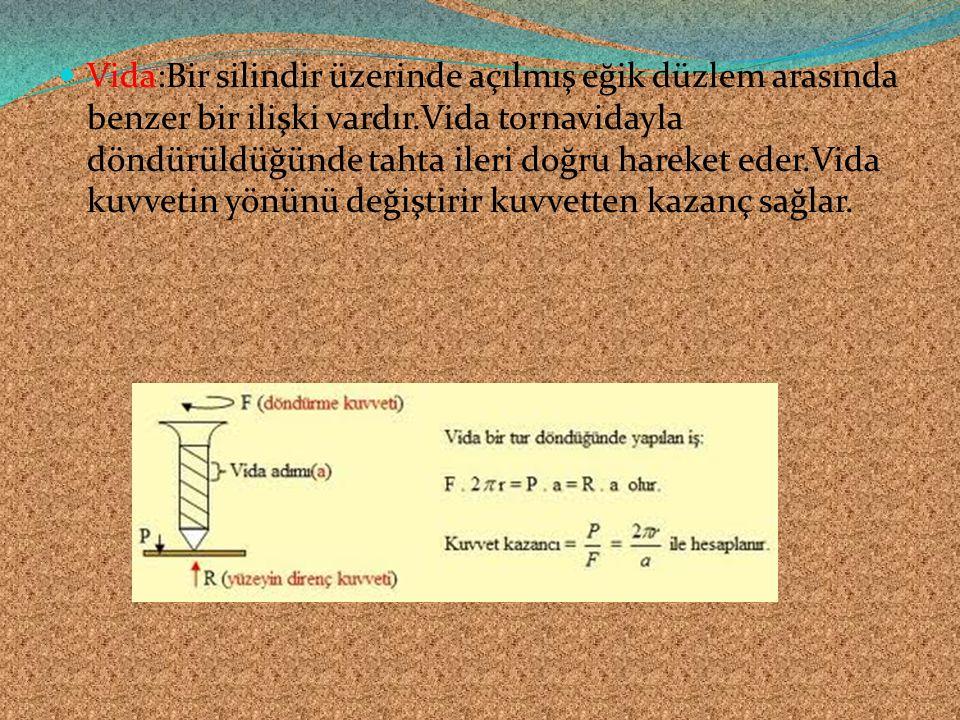 Vida:Bir silindir üzerinde açılmış eğik düzlem arasında benzer bir ilişki vardır.Vida tornavidayla döndürüldüğünde tahta ileri doğru hareket eder.Vida kuvvetin yönünü değiştirir kuvvetten kazanç sağlar.