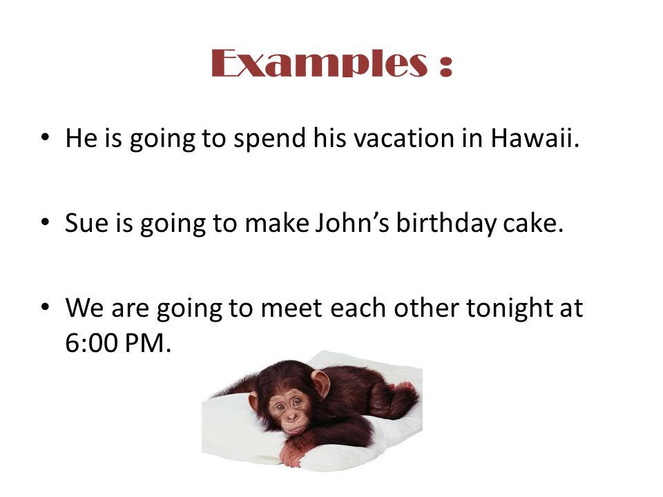 Examples : He is going to spend his vacation in Hawaii.