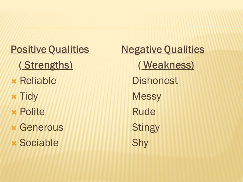 Positive Qualities Negative Qualities