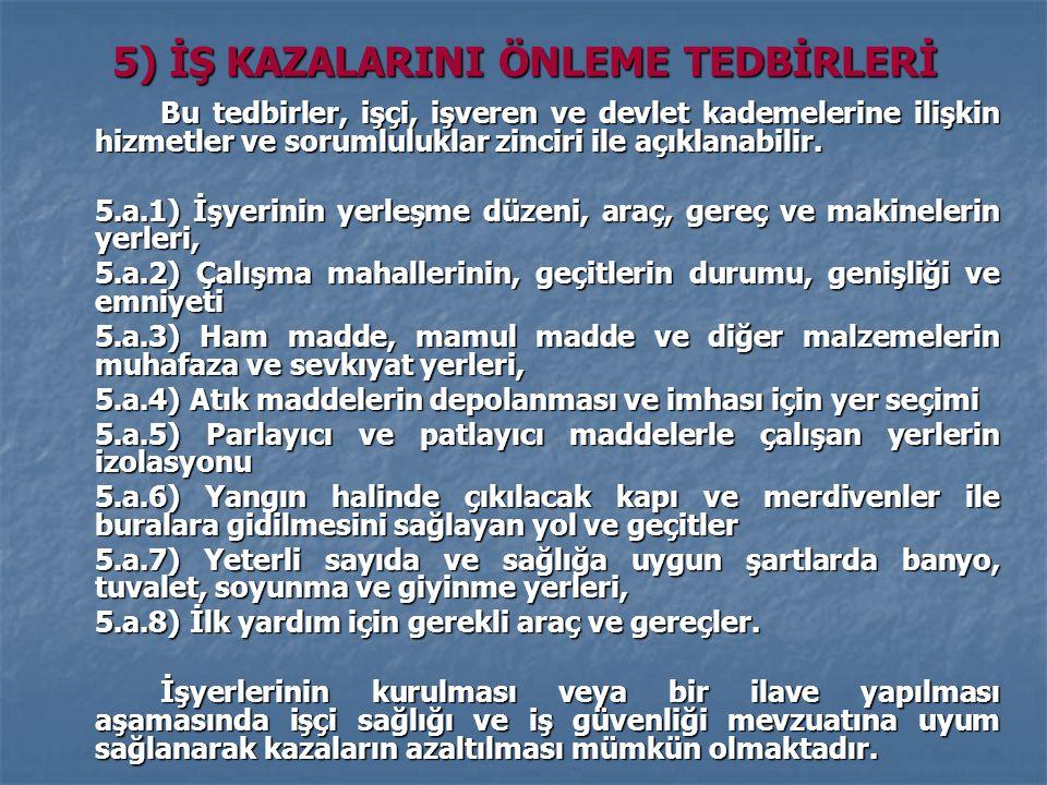 5) İŞ KAZALARINI ÖNLEME TEDBİRLERİ