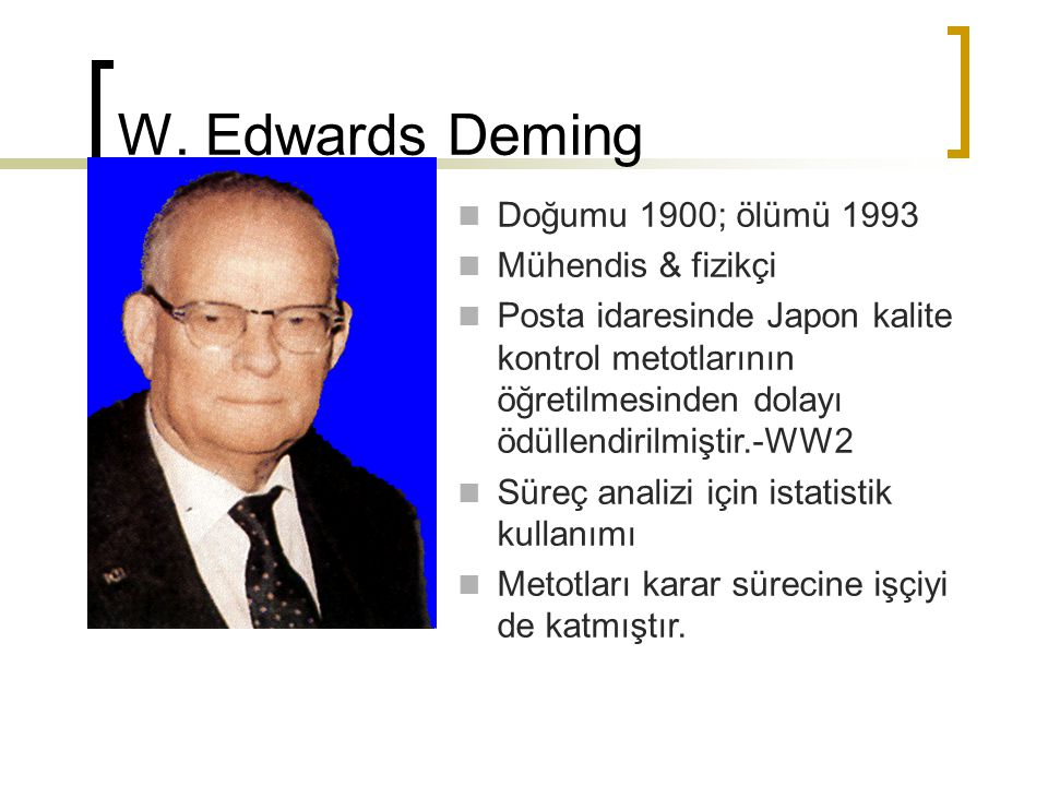 W. Edwards Deming Doğumu 1900; ölümü 1993 Mühendis & fizikçi