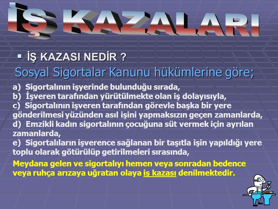 İŞ KAZALARI Sosyal Sigortalar Kanunu hükümlerine göre;