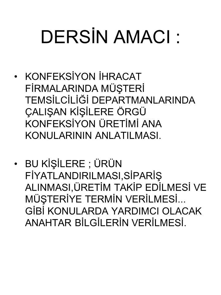 DERSİN AMACI :
