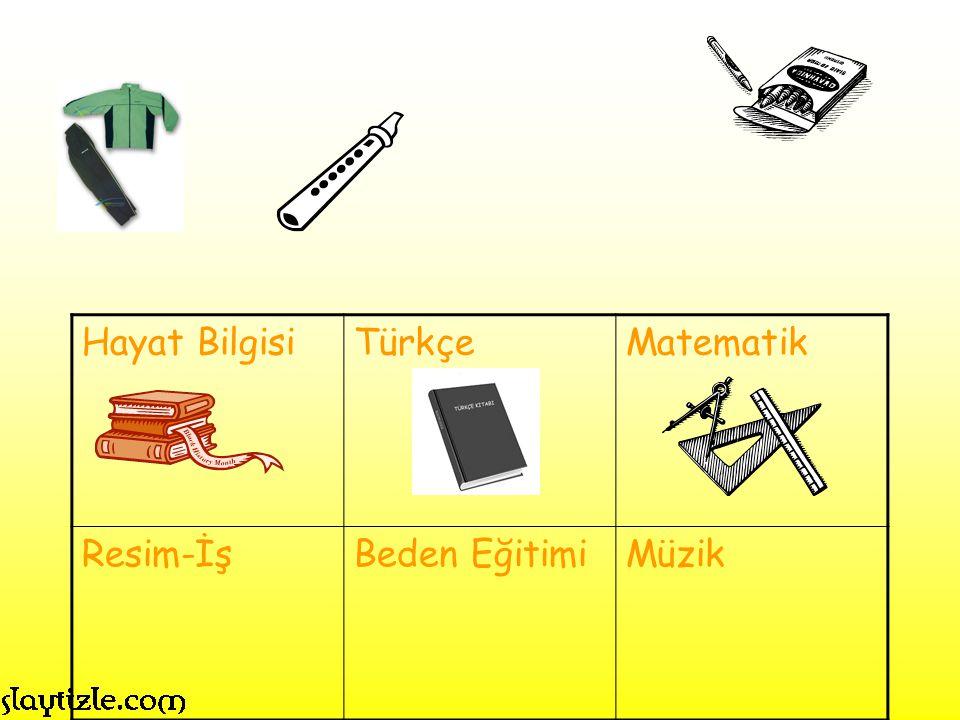 Hayat Bilgisi Türkçe Matematik Resim-İş Beden Eğitimi Müzik