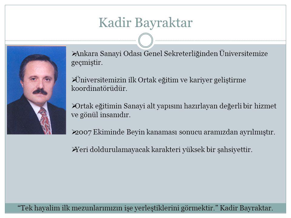 Kadir Bayraktar Ankara Sanayi Odası Genel Sekreterliğinden Üniversitemize geçmiştir.