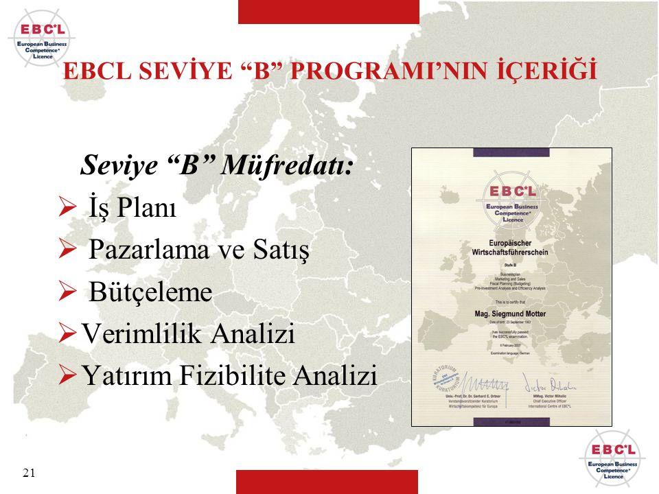 EBCL SEVİYE B PROGRAMI'NIN İÇERİĞİ