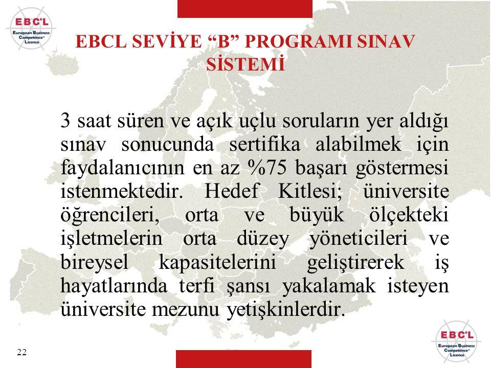 EBCL SEVİYE B PROGRAMI SINAV SİSTEMİ