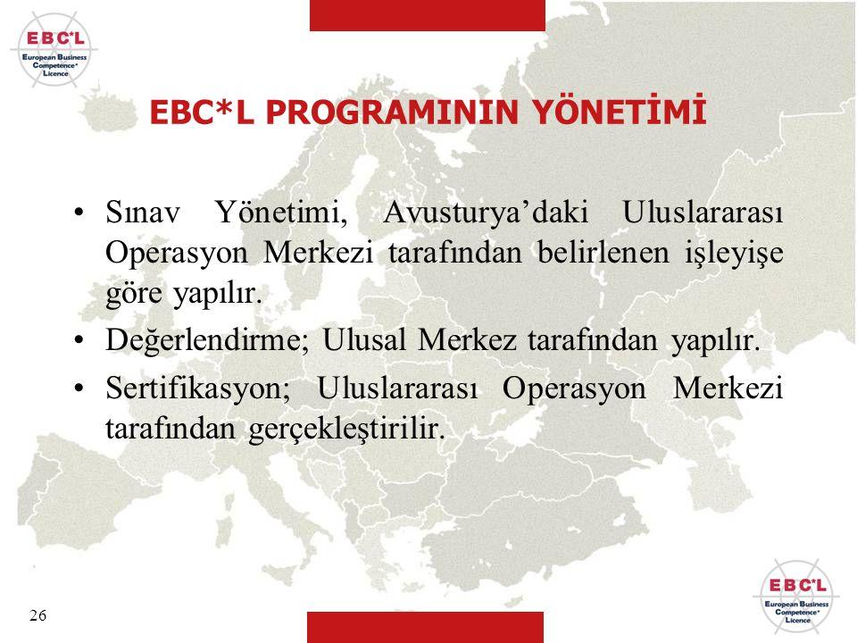 EBC*L PROGRAMININ YÖNETİMİ