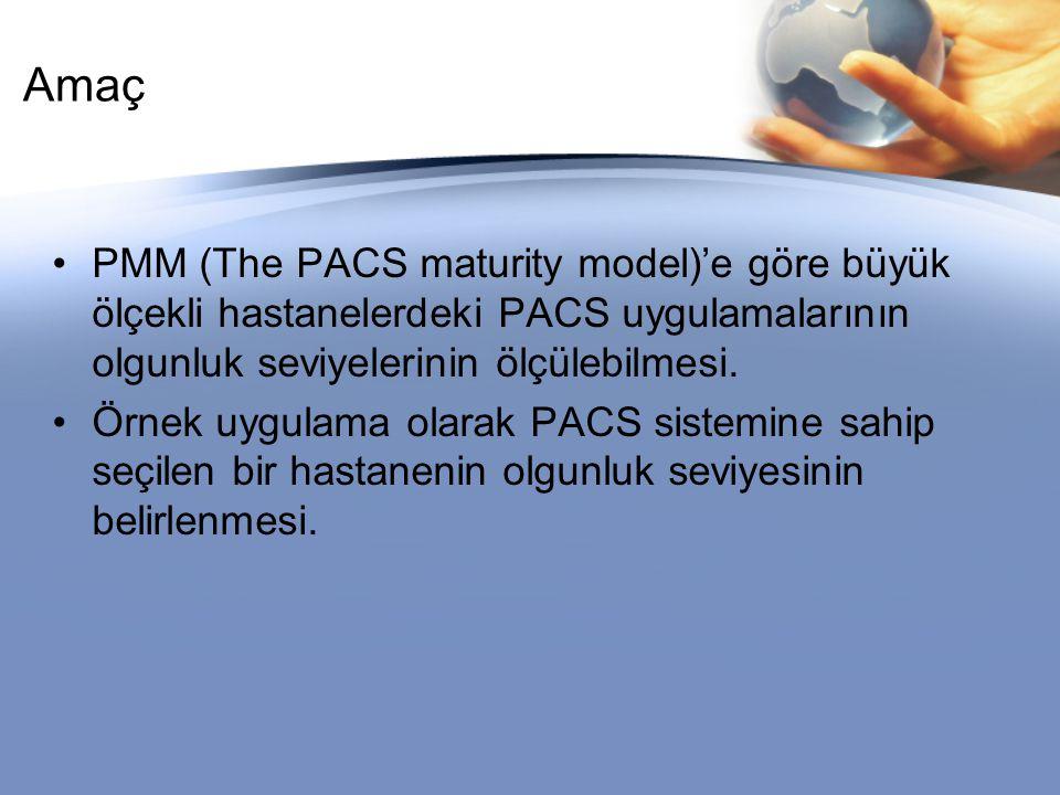Amaç PMM (The PACS maturity model)'e göre büyük ölçekli hastanelerdeki PACS uygulamalarının olgunluk seviyelerinin ölçülebilmesi.