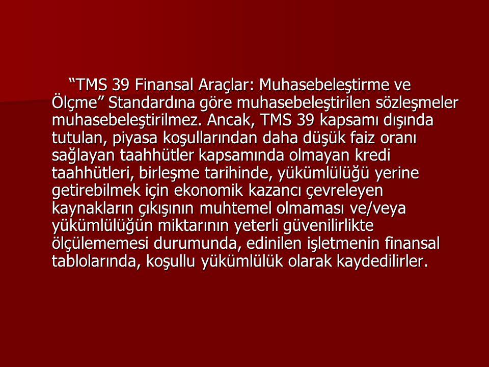 TMS 39 Finansal Araçlar: Muhasebeleştirme ve Ölçme Standardına göre muhasebeleştirilen sözleşmeler muhasebeleştirilmez.