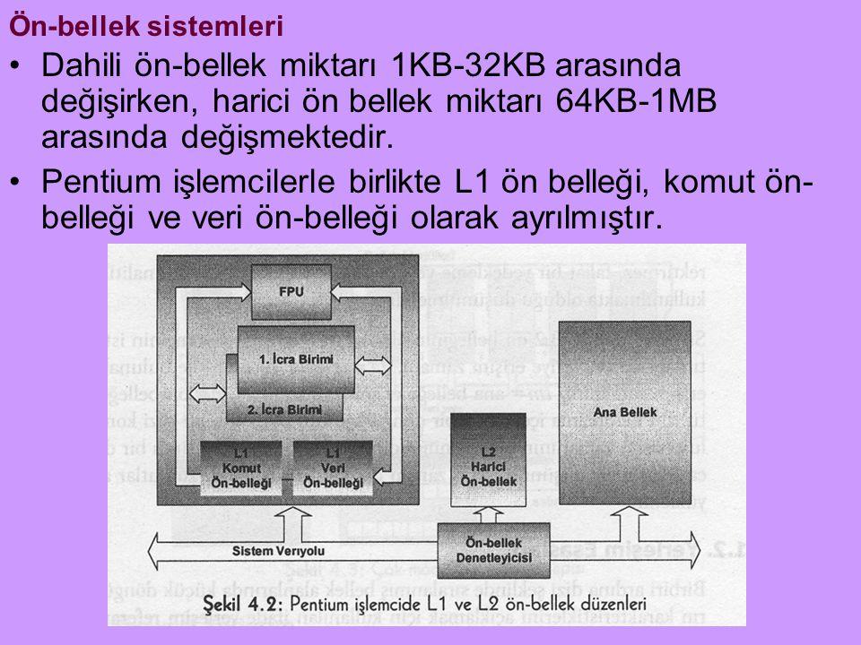 Ön-bellek sistemleri Dahili ön-bellek miktarı 1KB-32KB arasında değişirken, harici ön bellek miktarı 64KB-1MB arasında değişmektedir.