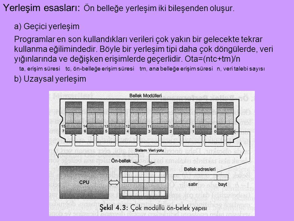 Yerleşim esasları: Ön belleğe yerleşim iki bileşenden oluşur.