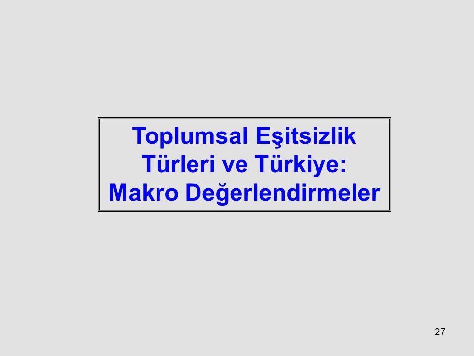 Toplumsal Eşitsizlik Türleri ve Türkiye: Makro Değerlendirmeler