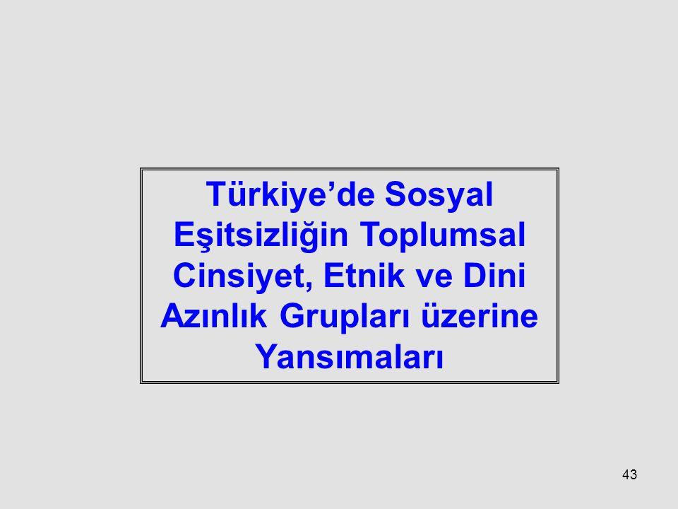 Türkiye'de Sosyal Eşitsizliğin Toplumsal Cinsiyet, Etnik ve Dini Azınlık Grupları üzerine Yansımaları