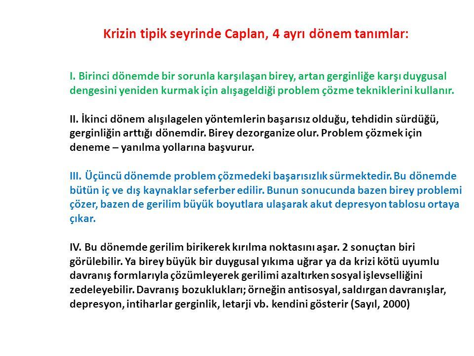 Krizin tipik seyrinde Caplan, 4 ayrı dönem tanımlar: