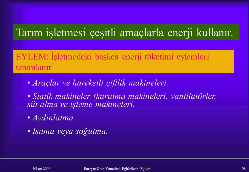 Tarım işletmesi çeşitli amaçlarla enerji kullanır.