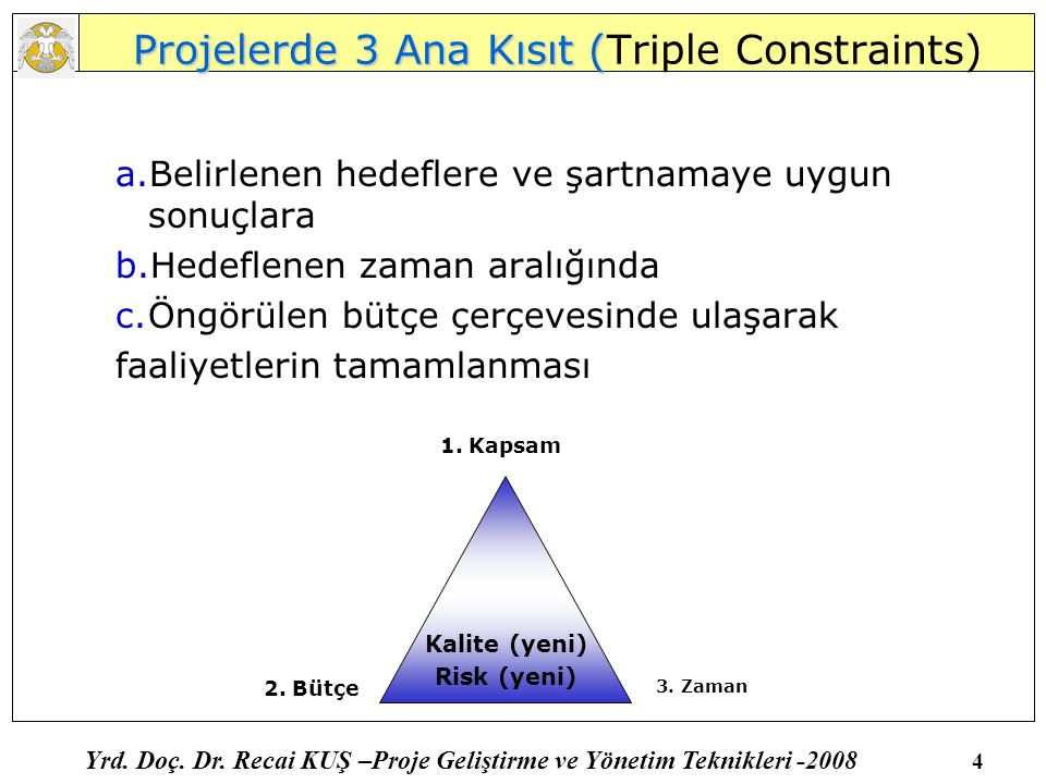 Projelerde 3 Ana Kısıt (Triple Constraints)