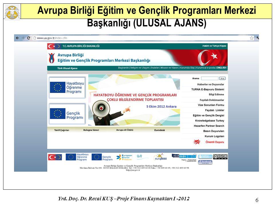 Yrd. Doç. Dr. Recai KUŞ –Proje Finans Kaynakları I -2012