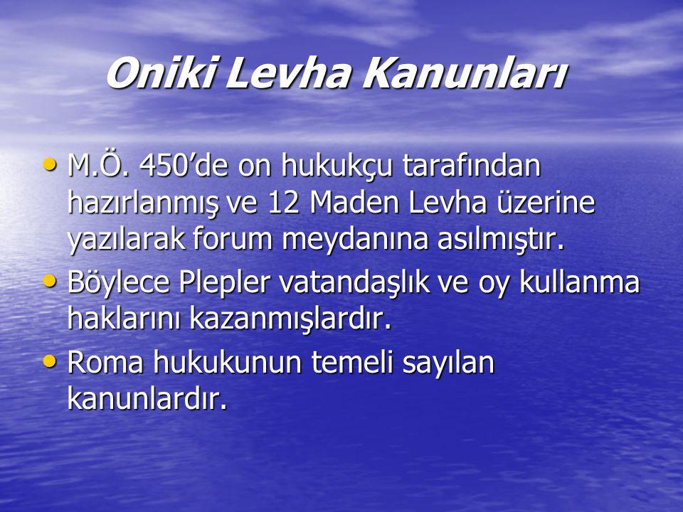 Oniki Levha Kanunları M.Ö. 450'de on hukukçu tarafından hazırlanmış ve 12 Maden Levha üzerine yazılarak forum meydanına asılmıştır.