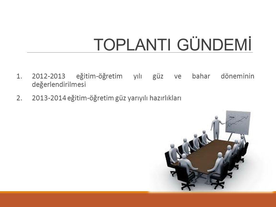 TOPLANTI GÜNDEMİ 2012-2013 eğitim-öğretim yılı güz ve bahar döneminin değerlendirilmesi.