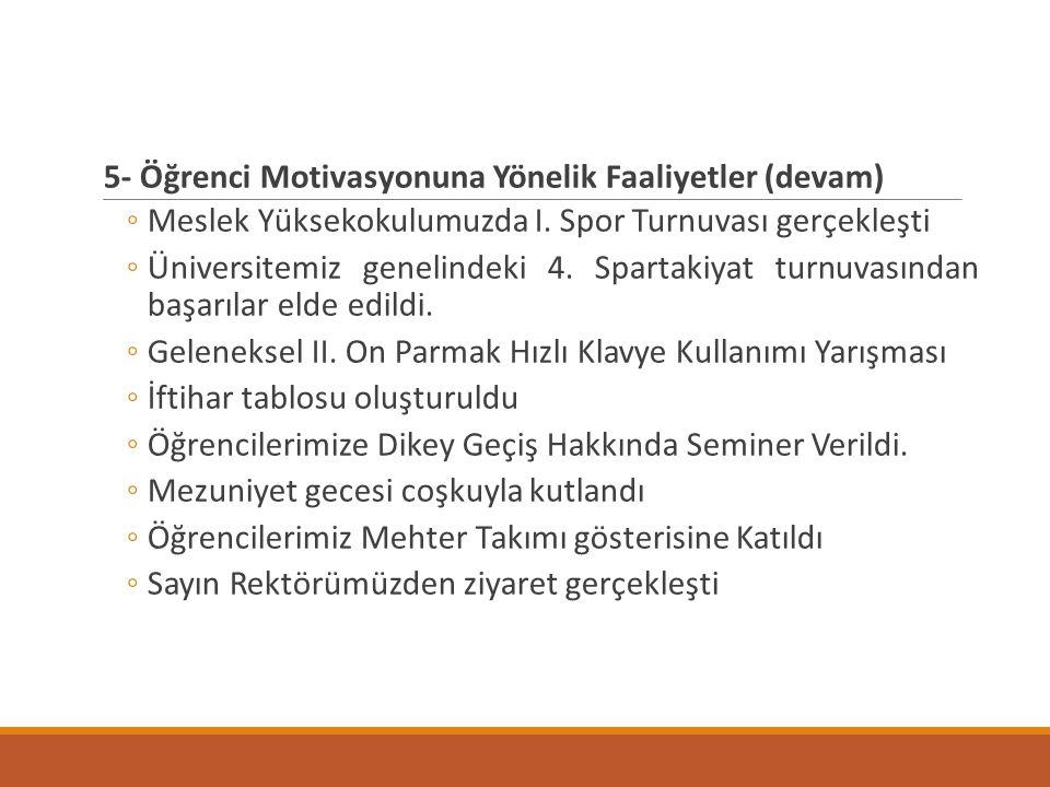 5- Öğrenci Motivasyonuna Yönelik Faaliyetler (devam)