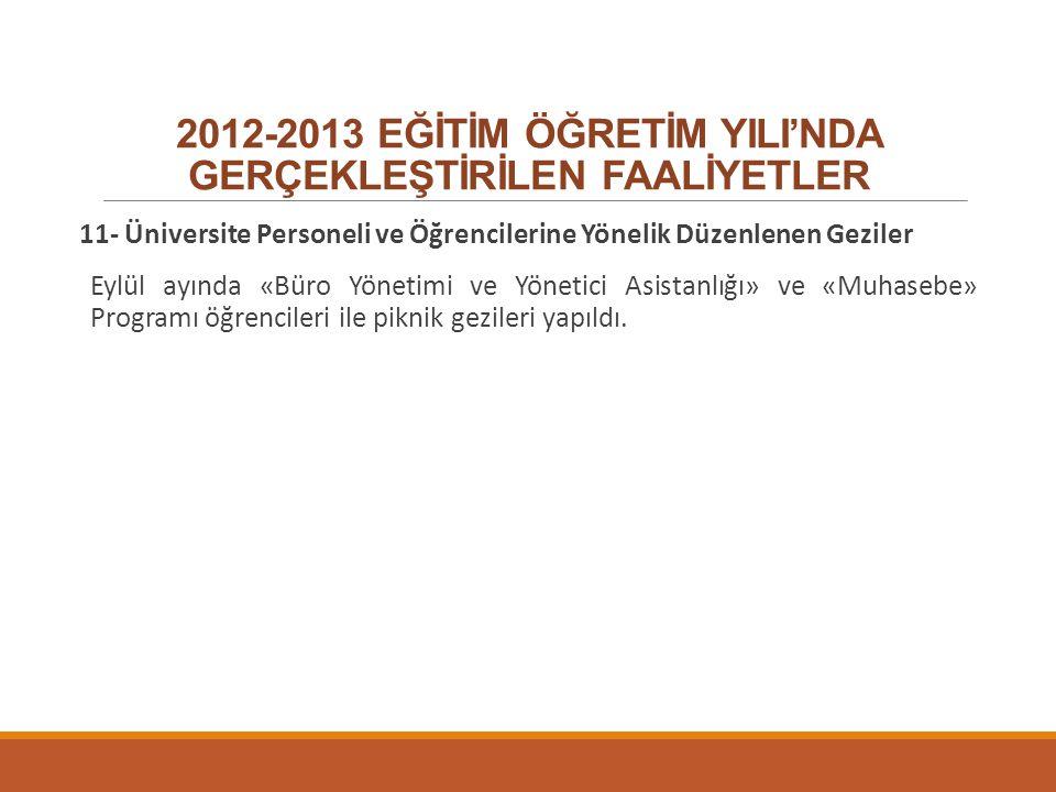 2012-2013 EĞİTİM ÖĞRETİM YILI'NDA GERÇEKLEŞTİRİLEN FAALİYETLER