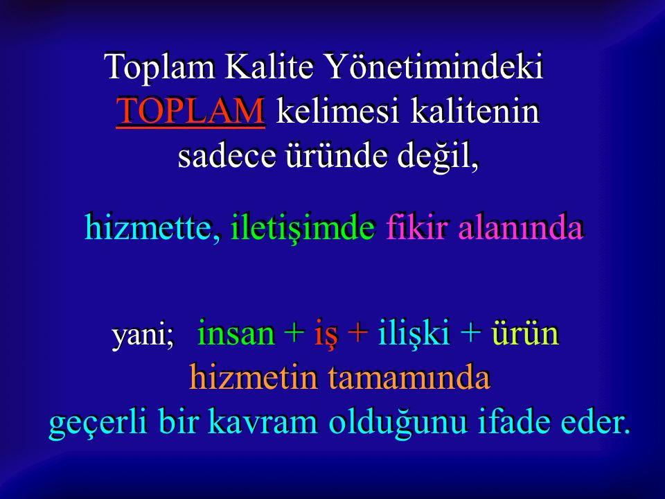 Toplam Kalite Yönetimindeki TOPLAM kelimesi kalitenin