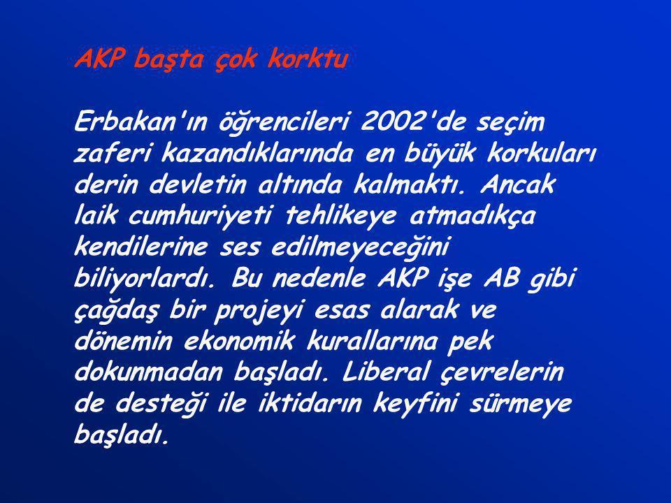 AKP başta çok korktu Erbakan ın öğrencileri 2002 de seçim zaferi kazandıklarında en büyük korkuları derin devletin altında kalmaktı.