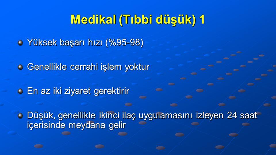 Medikal (Tıbbi düşük) 1 Yüksek başarı hızı (%95-98)