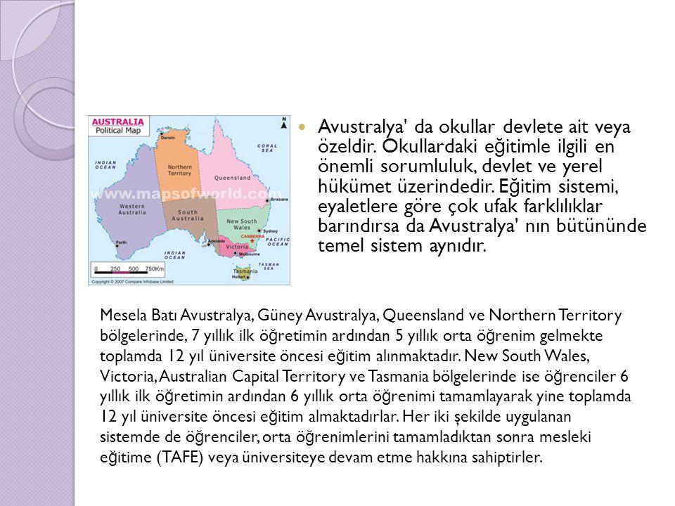 Avustralya da okullar devlete ait veya özeldir