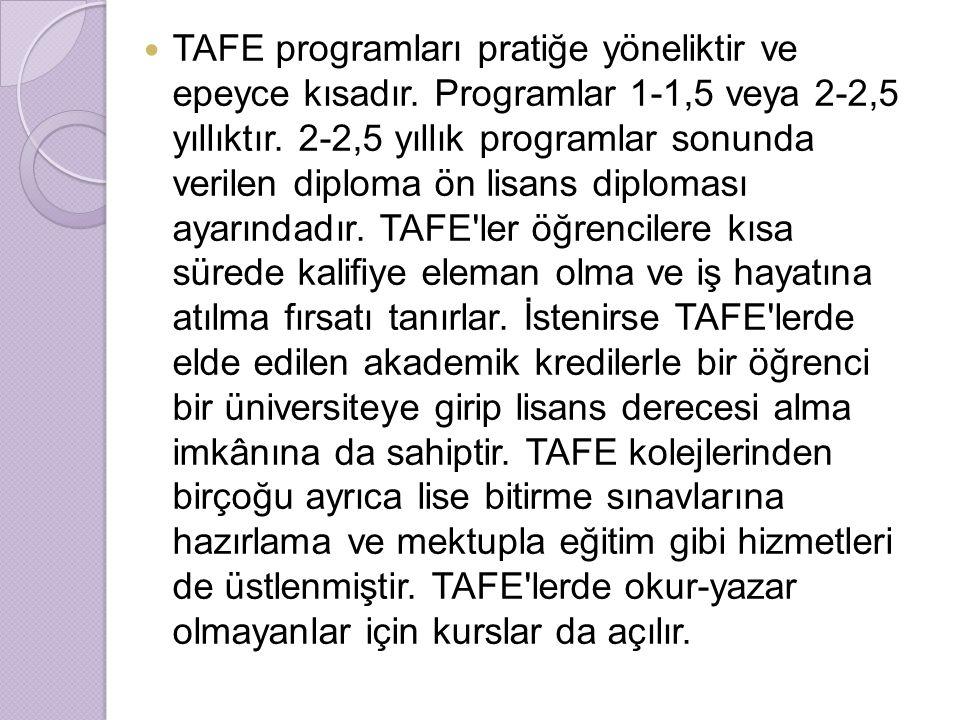 TAFE programları pratiğe yöneliktir ve epeyce kısadır