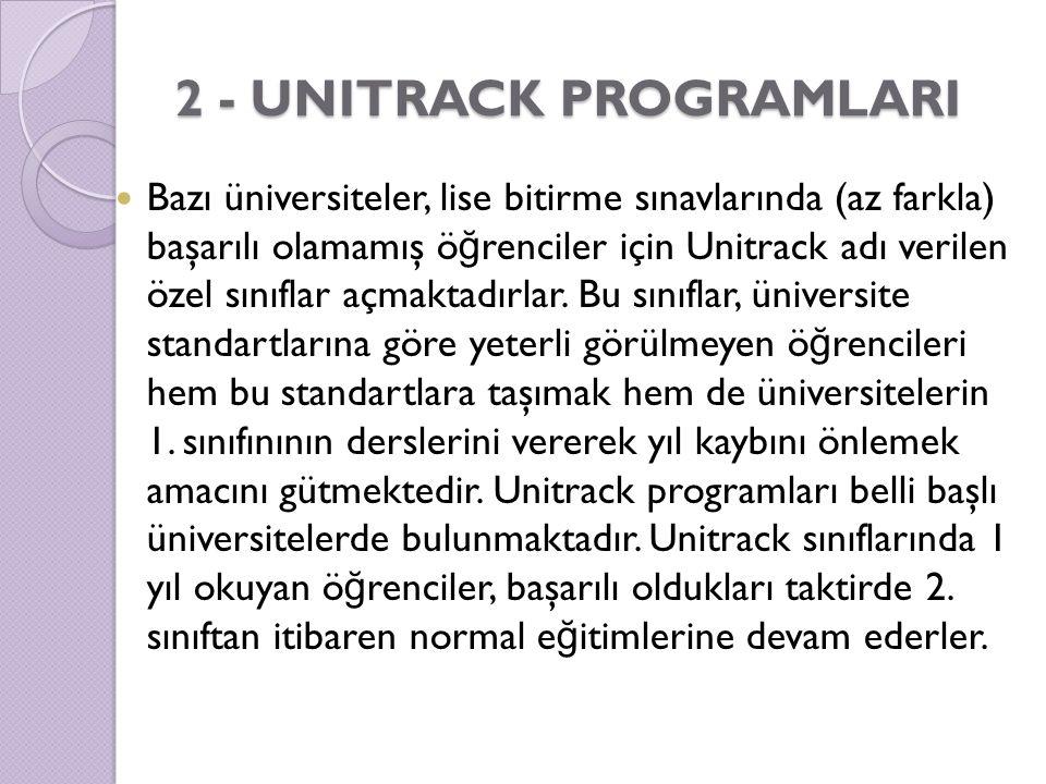 2 - UNITRACK PROGRAMLARI