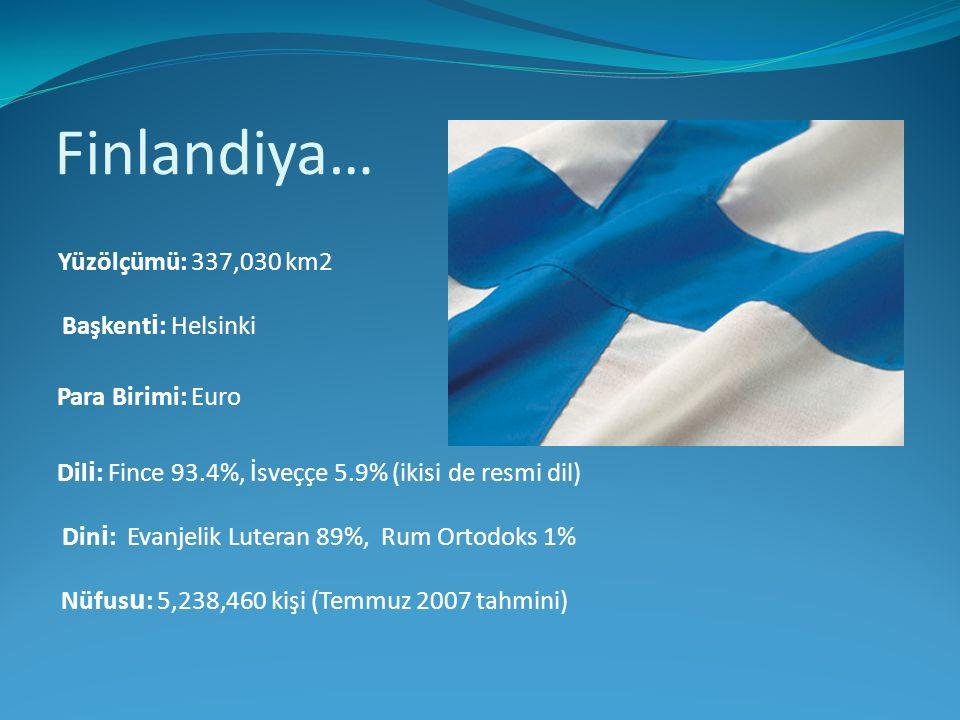 Finlandiya… Yüzölçümü: 337,030 km2 Başkenti: Helsinki